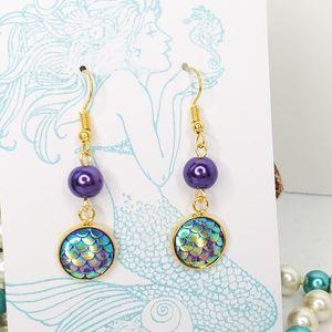 Purple Czech Glass Pearl Mermaid Scale Earrings
